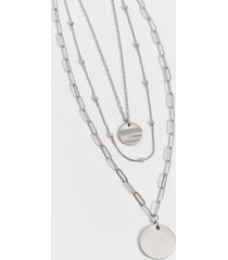 maurices womens dainty silver mixed chain circle pendant necklace gray