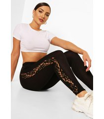 jersey lace panel legging, black