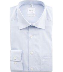 olymp luxor comfort fit overhemd blauw/wit ruit strijkvr