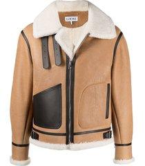 loewe aviator shearling jacket - brown