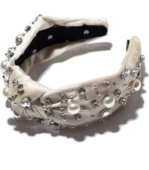 ivory oversized pearl and crystal knotted headband