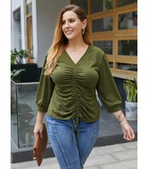 atado con cuello en v de talla grande diseño 3/4 longitud camiseta con mangas