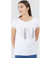 camiseta mujer barras lentejuelas color blanco, talla l