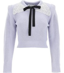 self-portrait short sweater with lace collar