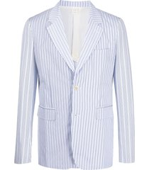 comme des garçons shirt single-breasted pinstripe blazer - blue