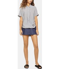 bcbgeneration striped button-front wrap-waist top