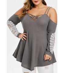 plus size cold shoulder cami criss cross sweater