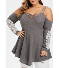 plus size cold shoulder cami criss cross sweater