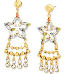 steve madden gold-tone round & baguette-stone star statement earrings