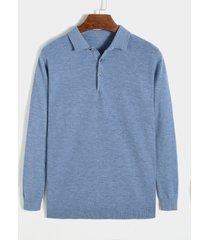 suéter de punto de corte slim con cuello polos de color sólido para hombre