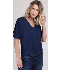 blusa femina manga curta decota em v azul marinho