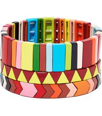 roxanne assoulin picnic blanket set of three bracelets - red
