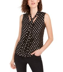bar iii dot-print chiffon tie-neck top, created for macy's