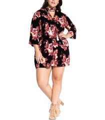 city chic trendy plus size floral-print romper