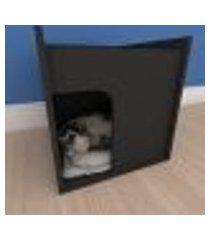 mesa de cabeceira caminha compacta pequeno gato em mdf preto