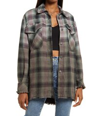 free people anneli plaid shirt jacket, size small in spanish olive at nordstrom