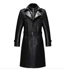 men leather coat winter long  leather coat genuine real leather trench coat-uk3