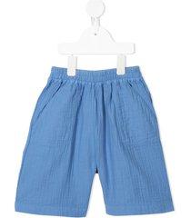 bonton textured cotton shorts - blue