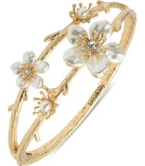 lonna & lilly gold-tone pave & imitation pearl flower double-row bangle bracelet