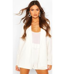 blazer & self fabric belt short suit set, white
