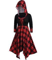 plus size hooded plaid lace up handkerchief dress