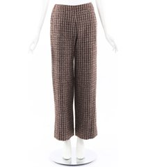 chanel boutique striped wool wide leg pants cream/brown sz: