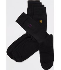 river island mens black ri embroidered socks 5 pack