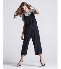 macacãµes khelf macacão de alcinha e pantalona preto - preto - feminino - dafiti
