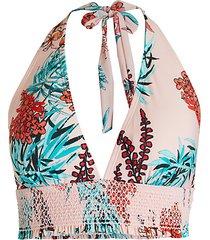 garden smocked halter bikini top