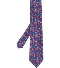 etro micro paisley-print silk tie - blue