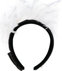 parlor feather trim velvet headband - black