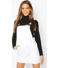 denim dungaree frayed hem pinafore dress, white