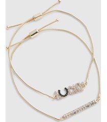 lane bryant women's 3-row pave-embellished lucky charm bracelet set onesz jade cream