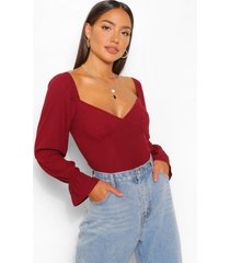 plunge frill detail top, wine