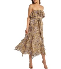 women's bardot rumi leopard print strapless chiffon midi dress