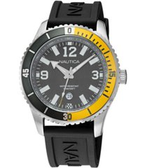 nautica men's analog black and yellow silicone strap watch 44 mm