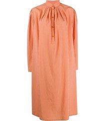 alberta ferretti striped tunic shirt dress - orange