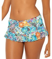bleu by rod beattie printed ruffled skirted hipster bikini bottoms women's swimsuit