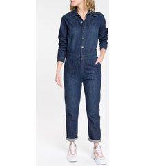 macacão jeans feminino manga longa azul marinho calvin klein - pp