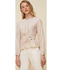 blusa amaro viscose manga longa detalhe argola areia - bege - feminino - dafiti