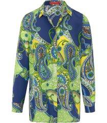 blouse 100% zijde van laura biagiotti roma blauw
