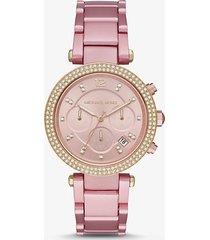 mk orologio parker oversize in alluminio rosa - rosa (rosa) - michael kors