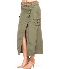 falda larga verde militar trucco's jeans 5263v