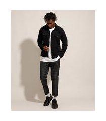 calça alfaiataria cropped estampada xadrez com cordão preta