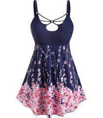 plus size o ring strappy floral print tankini swimwear