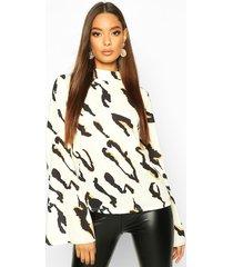 leopard high neck flare sleeve blouse, cream