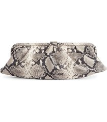 balenciaga extra large cloud python embossed leather clutch - black