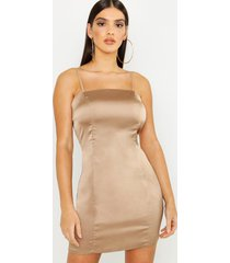 satin square neck bodycon dress, taupe