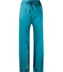 gilda & pearl sophia silk pajama bottoms - blue