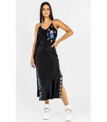 vestido midi de alça de viscose com patchs flor e - feminino